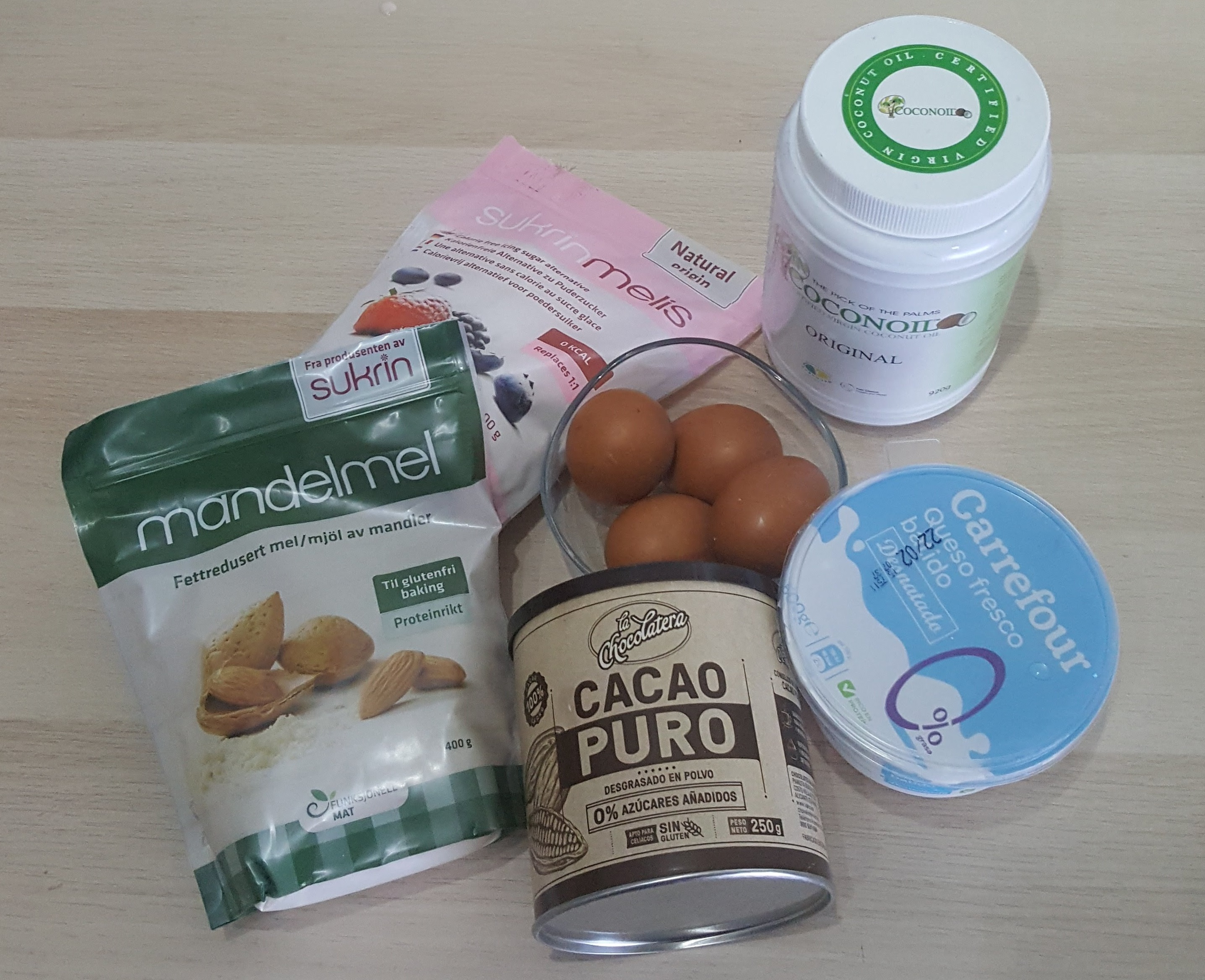 Ingredientes para la receta lowcarb de brownie